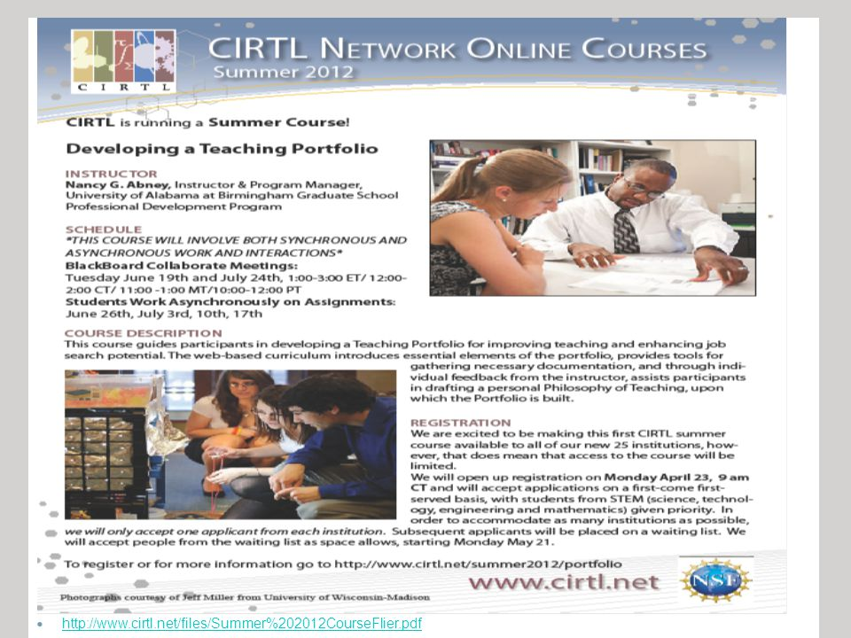 http://www.cirtl.net/files/Summer%202012CourseFlier.pdf
