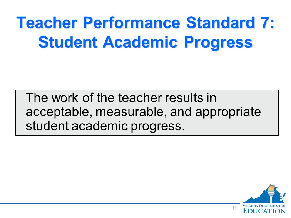 Teacher Performance Standard 7: Student Academic Progress The work of the teacher results in acceptable, measurable, and appropriate student academic progress.