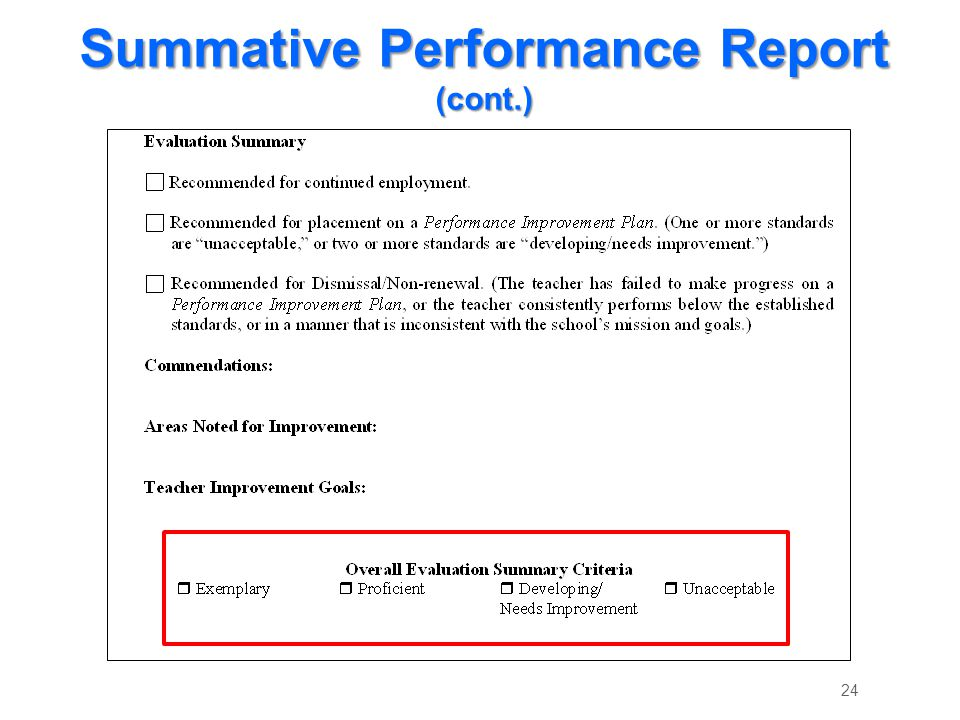 Summative Performance Report (cont.) 24