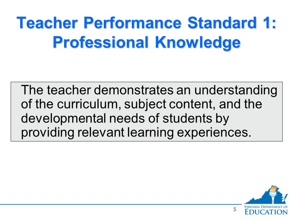 Teacher Performance Standard 1: Professional Knowledge The teacher demonstrates an understanding of the curriculum, subject content, and the developmental needs of students by providing relevant learning experiences.