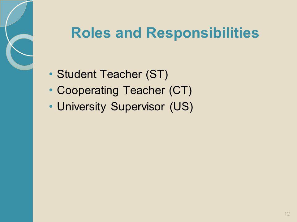 Roles and Responsibilities Student Teacher (ST) Cooperating Teacher (CT) University Supervisor (US) 12
