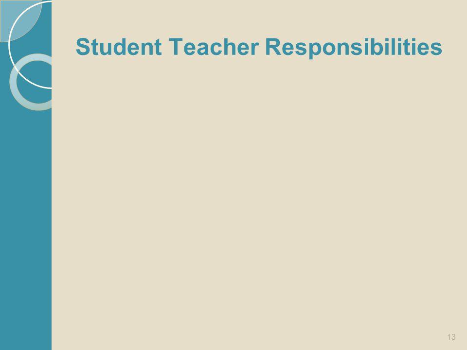 Student Teacher Responsibilities 13