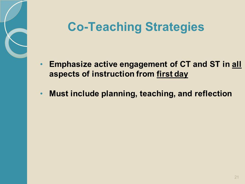 Co-Teaching Strategies Emphasize active engagement of CT and ST in all aspects of instruction from first day Must include planning, teaching, and refl