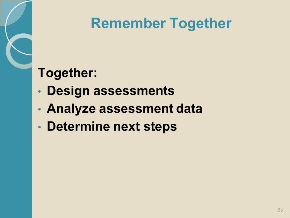 Remember Together Together: Design assessments Analyze assessment data Determine next steps 83