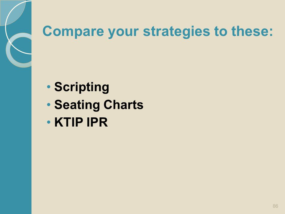 Compare your strategies to these: Scripting Seating Charts KTIP IPR 86