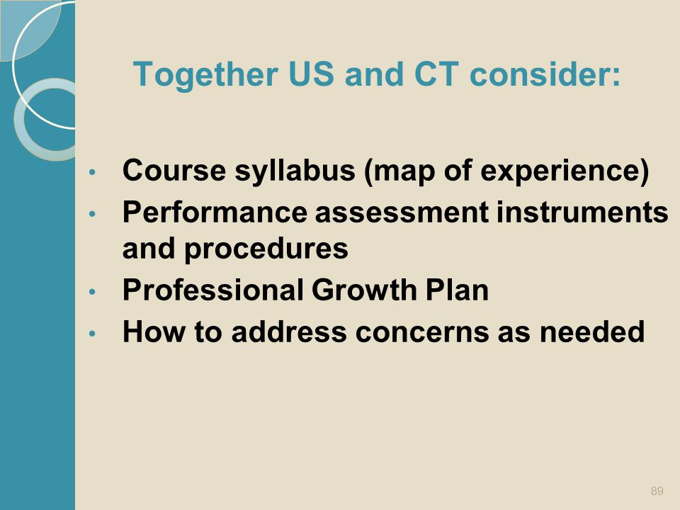 Together US and CT consider: Course syllabus (map of experience) Performance assessment instruments and procedures Professional Growth Plan How to add