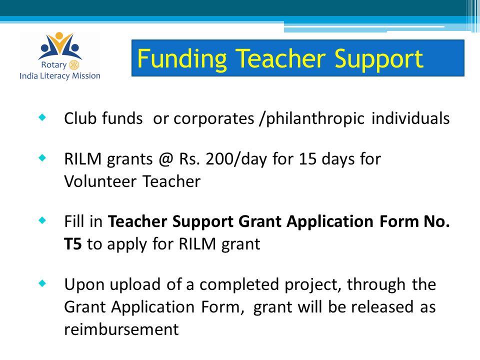  Club funds or corporates /philanthropic individuals  RILM grants @ Rs.