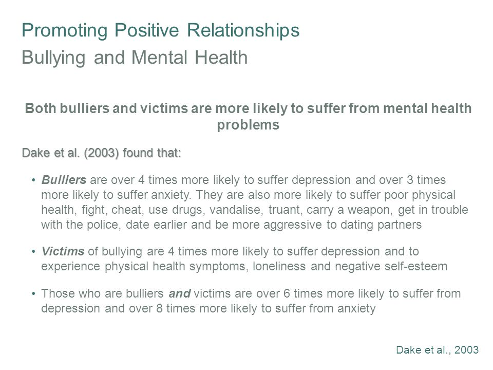 Promoting Positive Relationships Bullying and Mental Health Both bulliers and victims are more likely to suffer from mental health problems Dake et al.