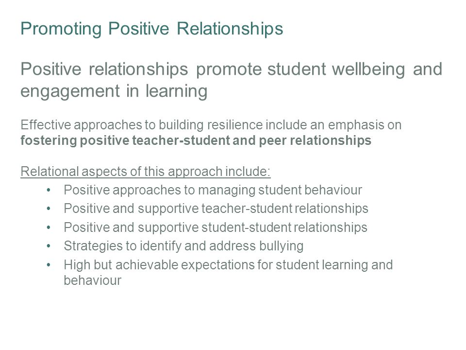 Promoting Positive Relationships Bullying in Australian Schools Bullying is one of the top 5 issues of concern for young people aged 11-14 and a common concern for children aged 5-14 calling kidshelpline 1 in 10 Australian young people experience cyberbullying every few weeks or more often More than 1 in 4 Year 4-9 students Experience bullying 