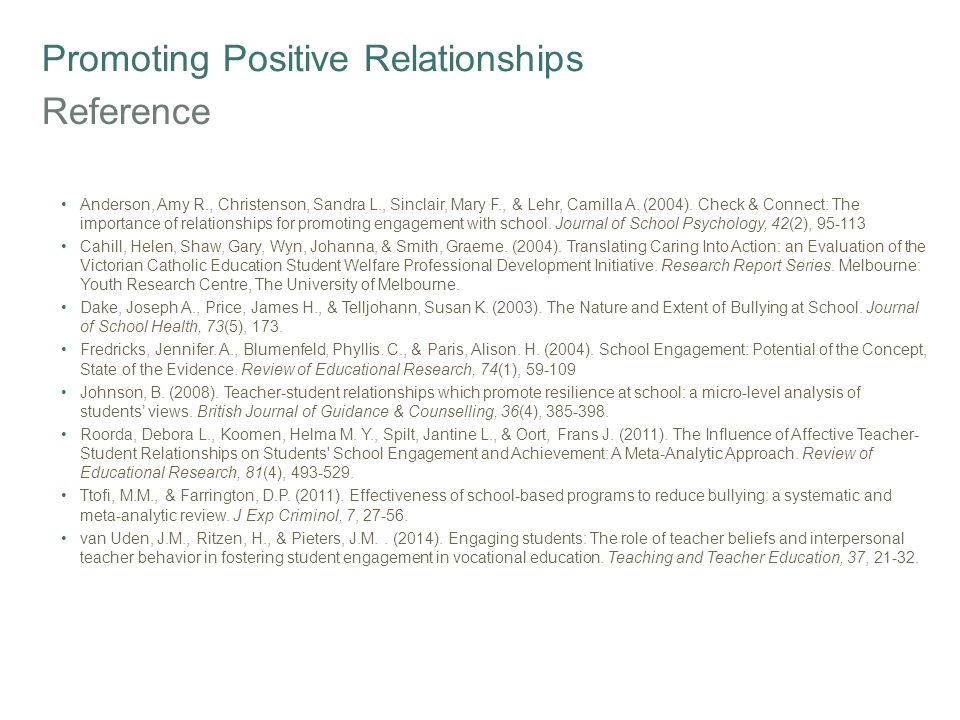Promoting Positive Relationships Reference Anderson, Amy R., Christenson, Sandra L., Sinclair, Mary F., & Lehr, Camilla A.