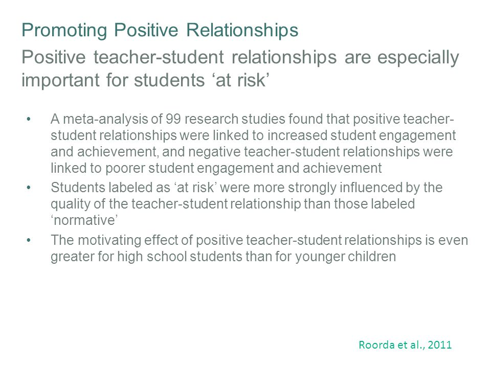 Promoting Positive Relationships Teacher interpersonal style and engagement Students' perceptions of teachers' interpersonal behaviour are strongly associated with student engagement Two critical factors influence high engagement including the perception by students that :  the teacher has positive authority and influence over the class and  the teacher trusts, respects and has positive regard for the students Students appreciate it when their teachers are firm in their class management, whilst also demonstrating a friendly, fair and respectful manner Van Uden et al.