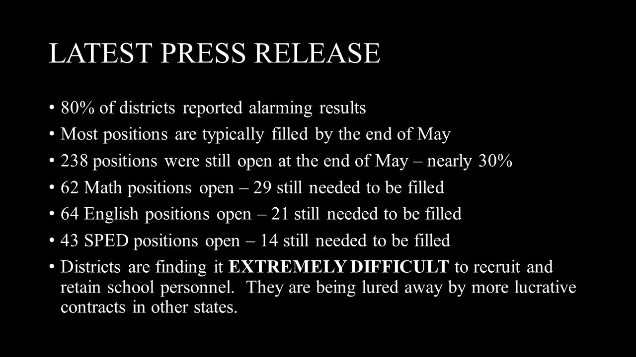 LATEST PRESS RELEASE 80% of districts reported alarming results Most positions are typically filled by the end of May 238 positions were still open at the end of May – nearly 30% 62 Math positions open – 29 still needed to be filled 64 English positions open – 21 still needed to be filled 43 SPED positions open – 14 still needed to be filled Districts are finding it EXTREMELY DIFFICULT to recruit and retain school personnel.