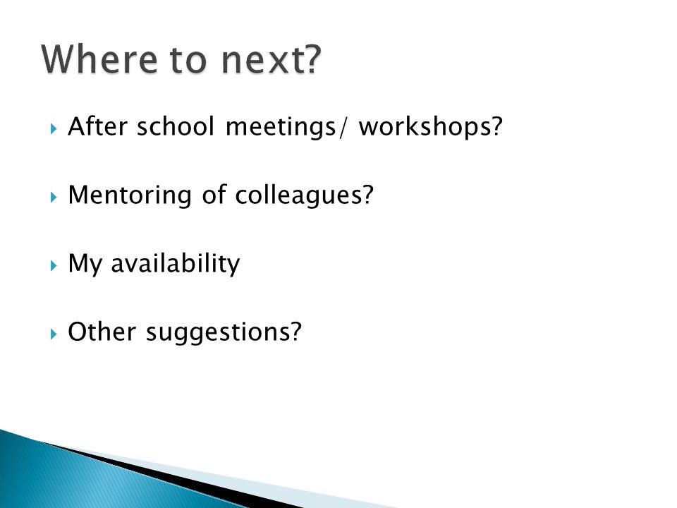  After school meetings/ workshops.  Mentoring of colleagues.