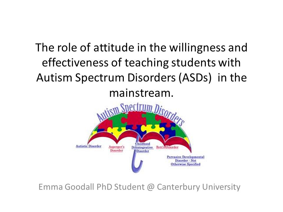 Contents The contexts - classroom based research into the reasons why some teachers are more effective at teaching students with Autism Spectrum Disorders (ASDs) in the mainstream than other teachers.