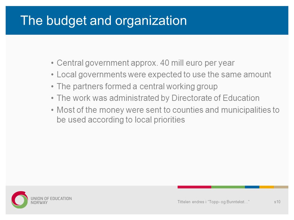 The budget and organization Central government approx.