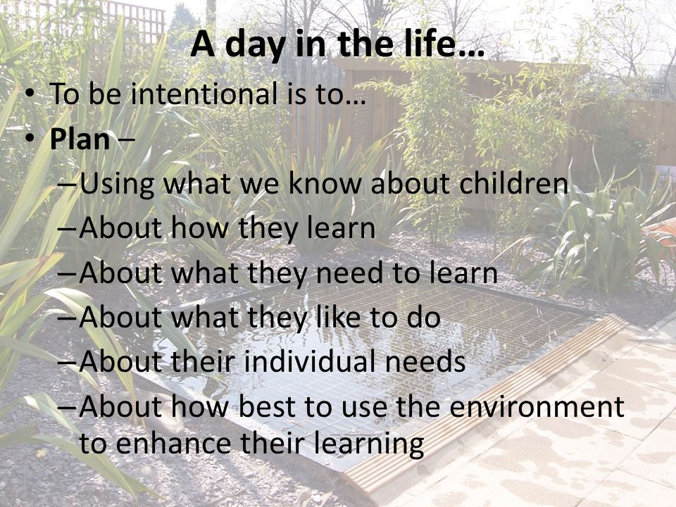 A day in the life… To be intentional is to… Plan – – Using what we know about children – About how they learn – About what they need to learn – About what they like to do – About their individual needs – About how best to use the environment to enhance their learning