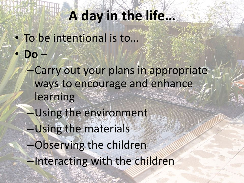 A day in the life… To be intentional is to… Do – – Carry out your plans in appropriate ways to encourage and enhance learning – Using the environment