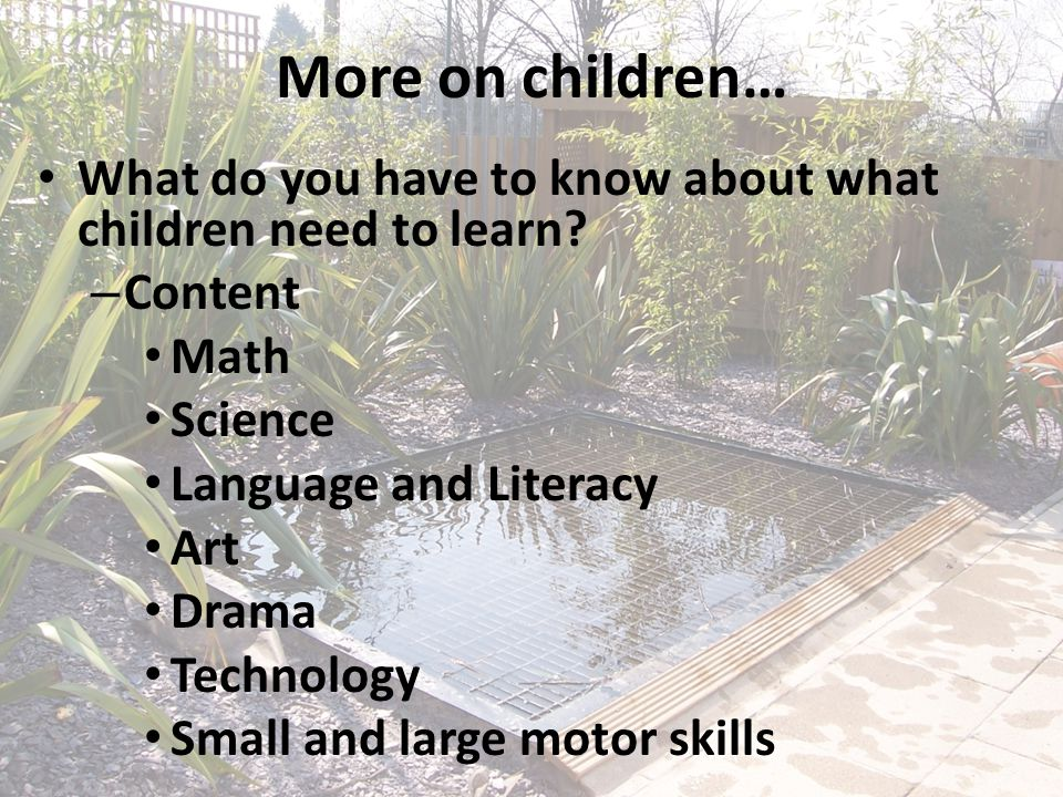 More on children… What do you have to know about what children need to learn.