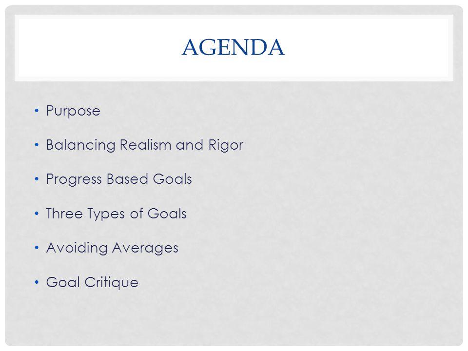 AGENDA Purpose Balancing Realism and Rigor Progress Based Goals Three Types of Goals Avoiding Averages Goal Critique