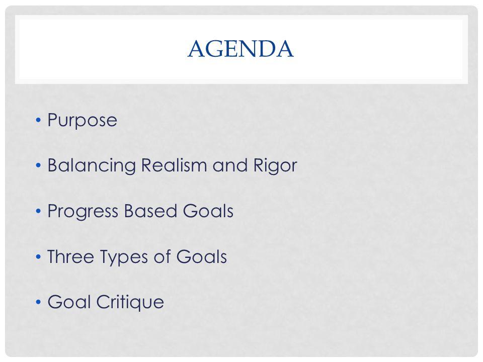 AGENDA Purpose Balancing Realism and Rigor Progress Based Goals Three Types of Goals Goal Critique