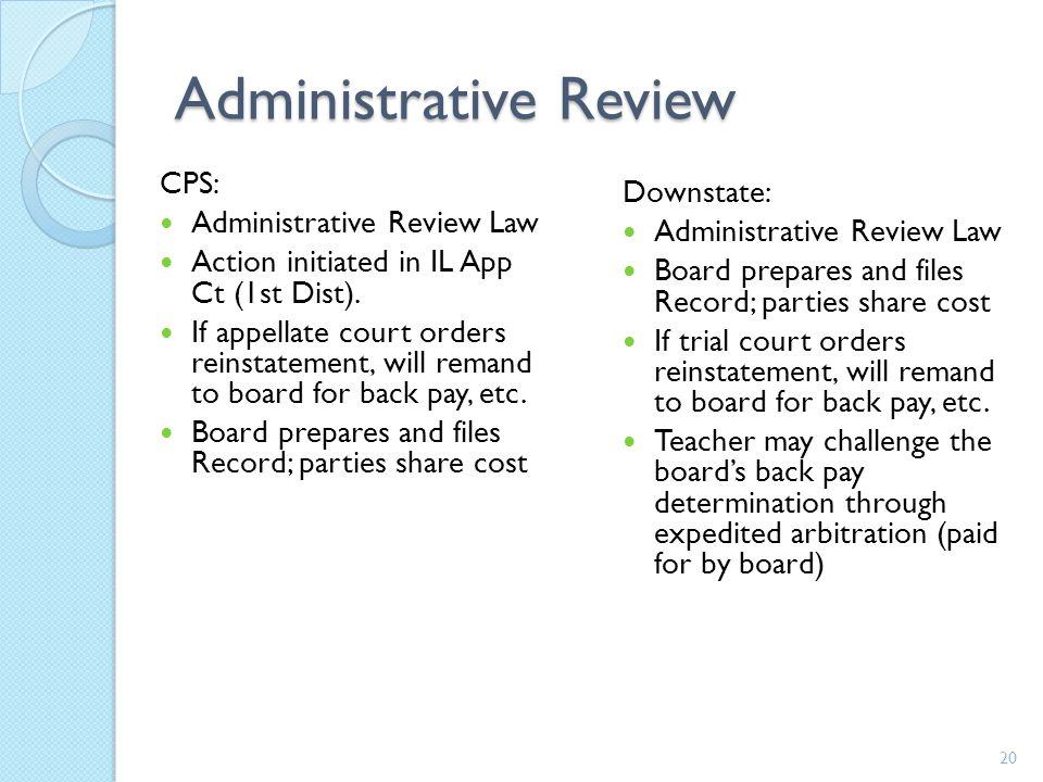 Administrative Review CPS: Administrative Review Law Action initiated in IL App Ct (1st Dist).