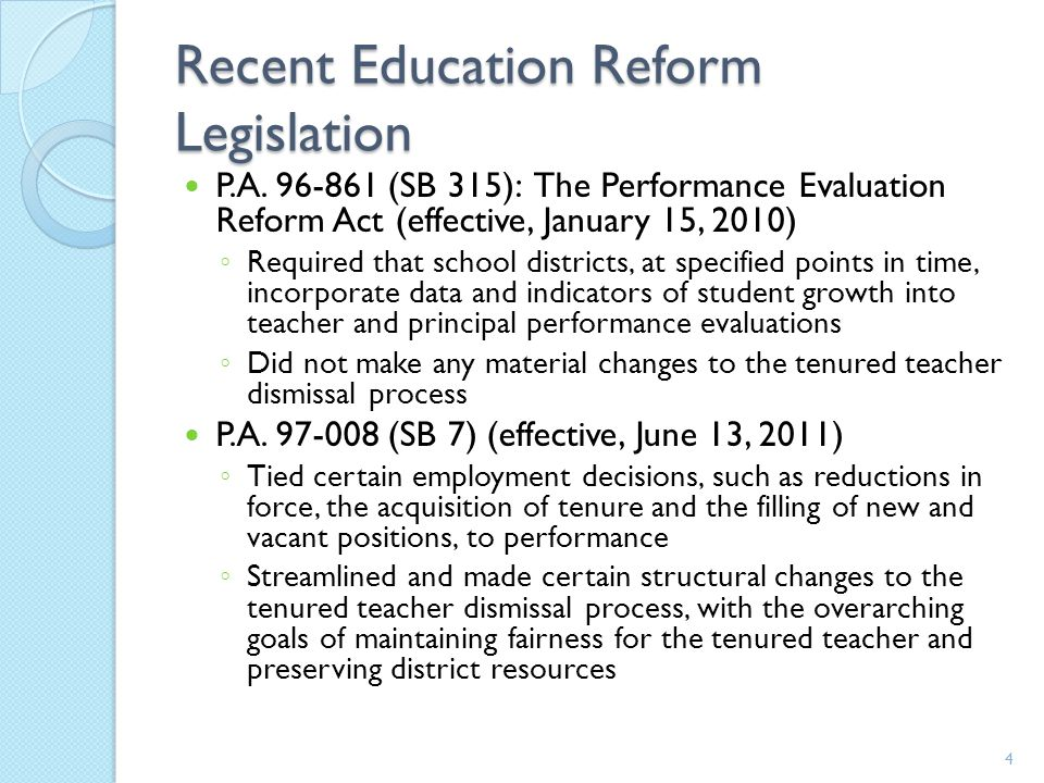 Recent Education Reform Legislation P.A.