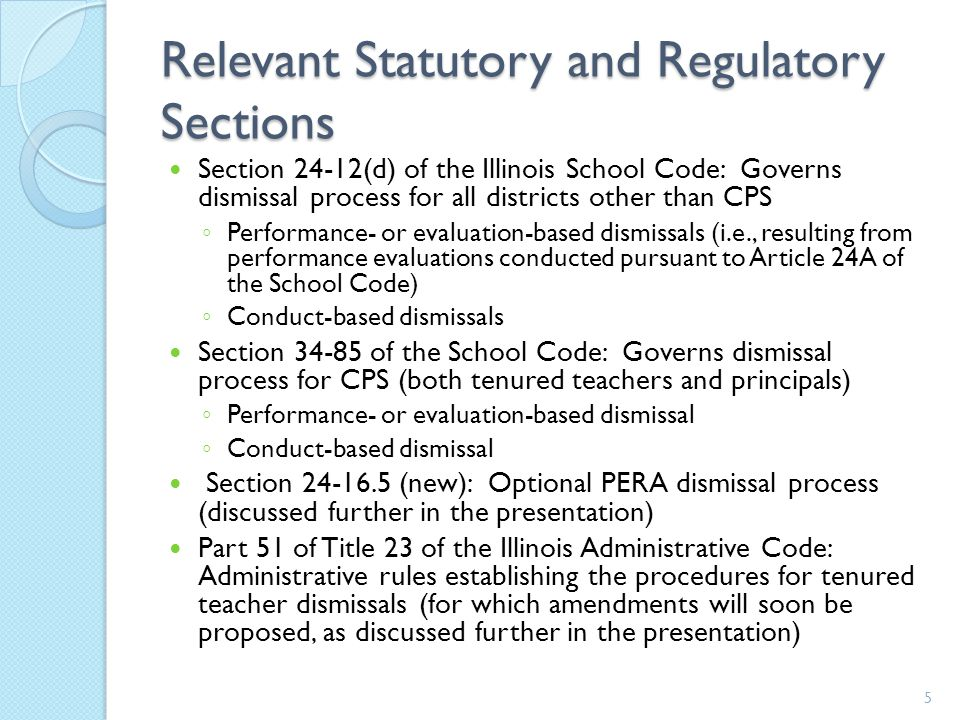 Relevant Statutory and Regulatory Sections Section 24-12(d) of the Illinois School Code: Governs dismissal process for all districts other than CPS ◦ Performance- or evaluation-based dismissals (i.e., resulting from performance evaluations conducted pursuant to Article 24A of the School Code) ◦ Conduct-based dismissals Section 34-85 of the School Code: Governs dismissal process for CPS (both tenured teachers and principals) ◦ Performance- or evaluation-based dismissal ◦ Conduct-based dismissal Section 24-16.5 (new): Optional PERA dismissal process (discussed further in the presentation) Part 51 of Title 23 of the Illinois Administrative Code: Administrative rules establishing the procedures for tenured teacher dismissals (for which amendments will soon be proposed, as discussed further in the presentation) 5
