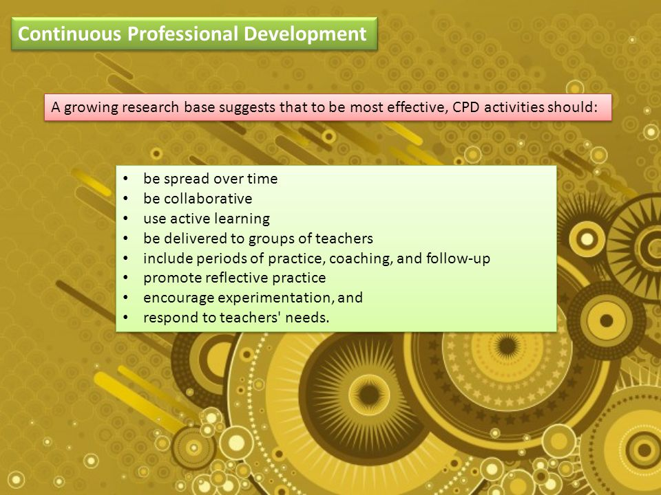 Continuous Professional Development A growing research base suggests that to be most effective, CPD activities should: be spread over time be collaborative use active learning be delivered to groups of teachers include periods of practice, coaching, and follow-up promote reflective practice encourage experimentation, and respond to teachers needs.