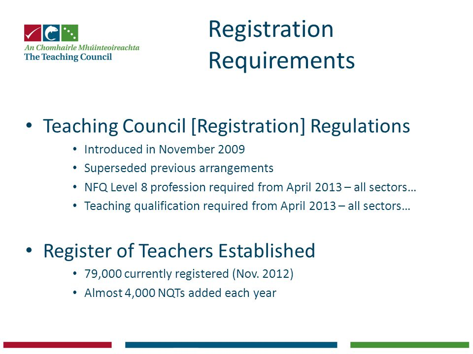 Registration Requirements Teaching Council [Registration] Regulations Introduced in November 2009 Superseded previous arrangements NFQ Level 8 profession required from April 2013 – all sectors… Teaching qualification required from April 2013 – all sectors… Register of Teachers Established 79,000 currently registered (Nov.