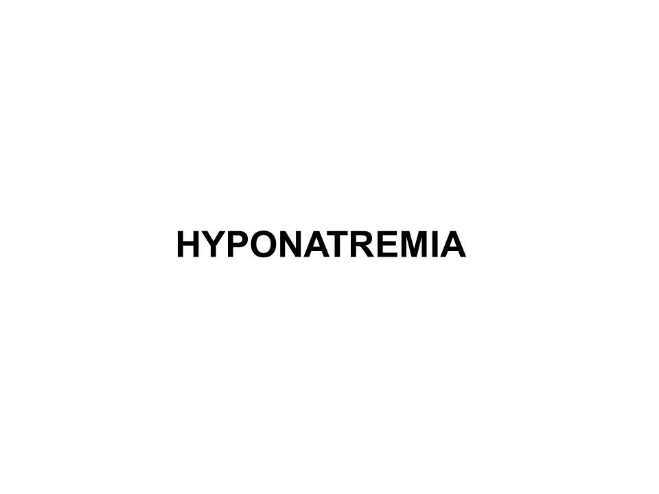 Prevalence of hyponatremia Patient GroupPrevalence (%) ICU11.0-29.6 Elderly outpatients7.2-11.0 Elderly inpatients18.0-53.0 Elderly with falls9.1-13.0 Heart Failure10.2-27.0 Cirrhosis20.8-49.4 Cancer3.7-47.0 Pneumonia8.1-27.9 CKD pre dialysis13.6 CKD on dialysis29.3 Marathon runners3.0-13.0