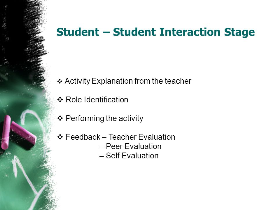 Student – Student Interaction Stage  Activity Explanation from the teacher  Role Identification  Performing the activity  Feedback – Teacher Evalu