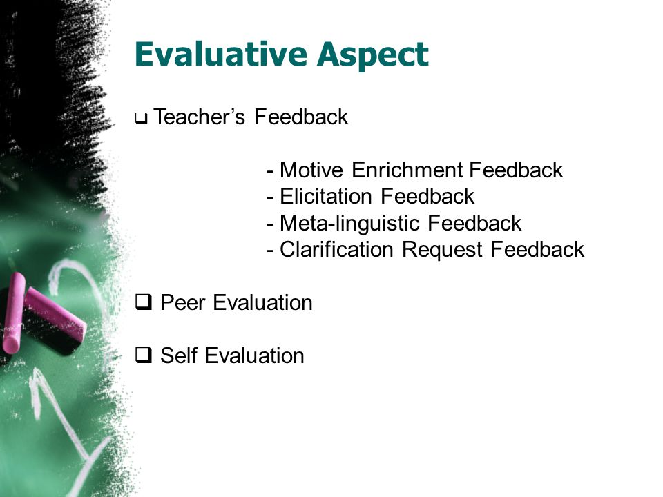  Teacher's Feedback - Motive Enrichment Feedback - Elicitation Feedback - Meta-linguistic Feedback - Clarification Request Feedback  Peer Evaluation