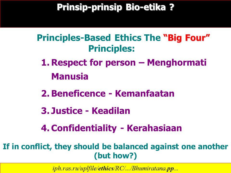 1.Respect for person – Menghormati Manusia 2.Beneficence - Kemanfaatan 3.Justice - Keadilan 4.Confidentiality - Kerahasiaan Prinsip-prinsip Bio-etika .