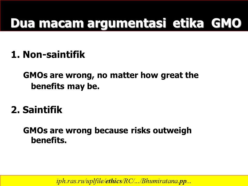Dua macam argumentasi etika GMO Dua macam argumentasi etika GMO 1.