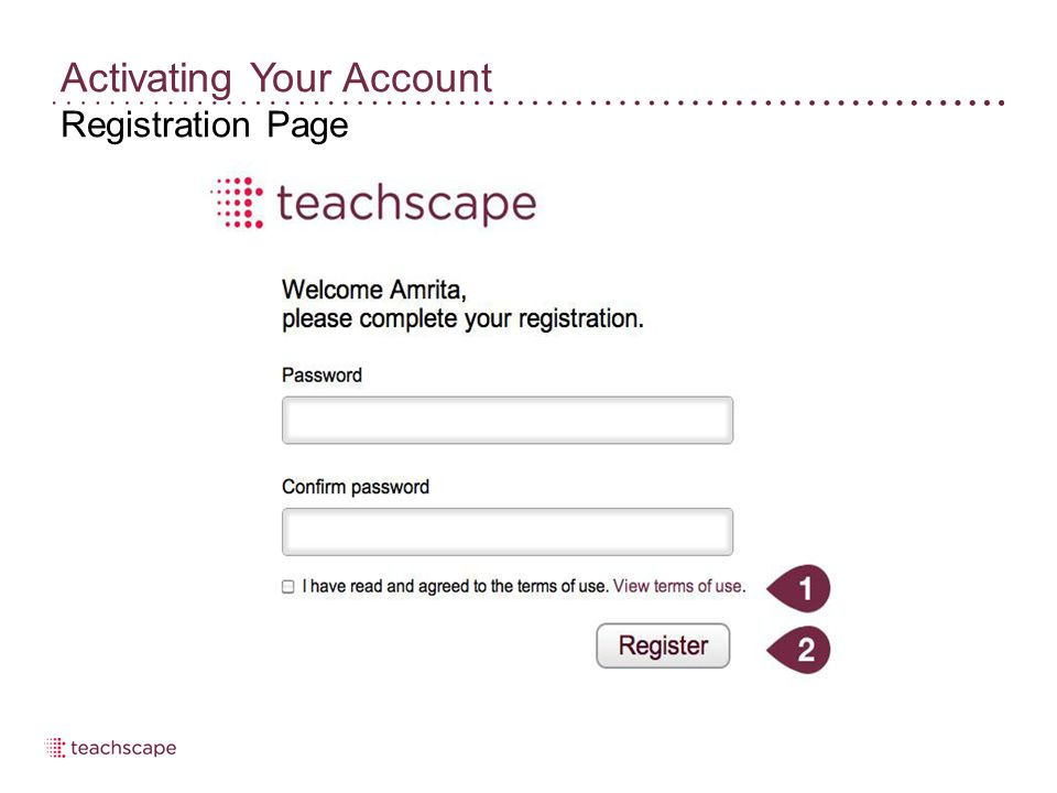 Activating Your Account Registration Page