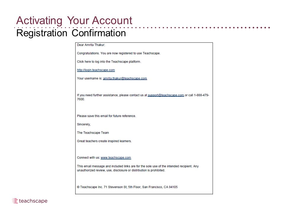 Activating Your Account Registration Confirmation