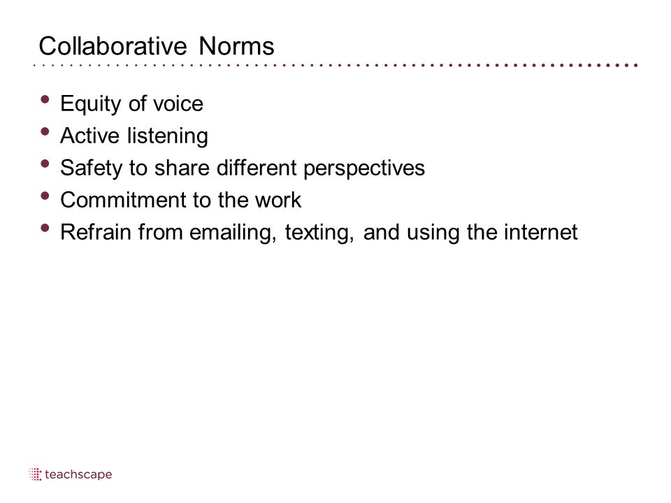 Collaborative Norms Equity of voice Active listening Safety to share different perspectives Commitment to the work Refrain from emailing, texting, and