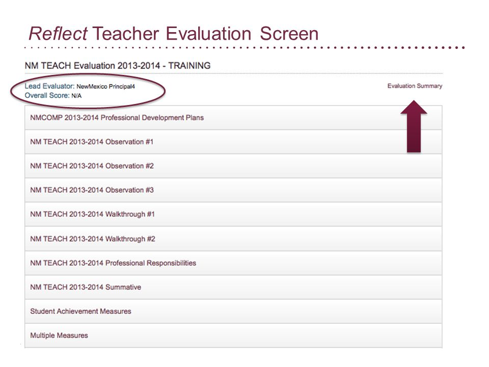 Reflect Teacher Evaluation Screen