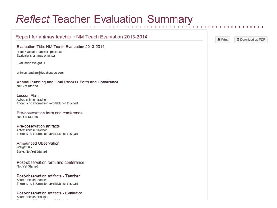 Reflect Teacher Evaluation Summary
