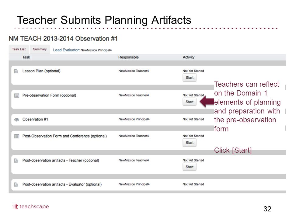 32 Teacher Submits Planning Artifacts Teachers can reflect on the Domain 1 elements of planning and preparation with the pre-observation form Click [Start]