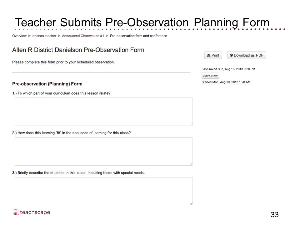 33 Teacher Submits Pre-Observation Planning Form