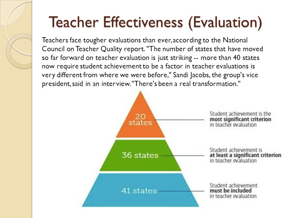 Teacher Effectiveness (Evaluation) Teachers face tougher evaluations than ever, according to the National Council on Teacher Quality report.