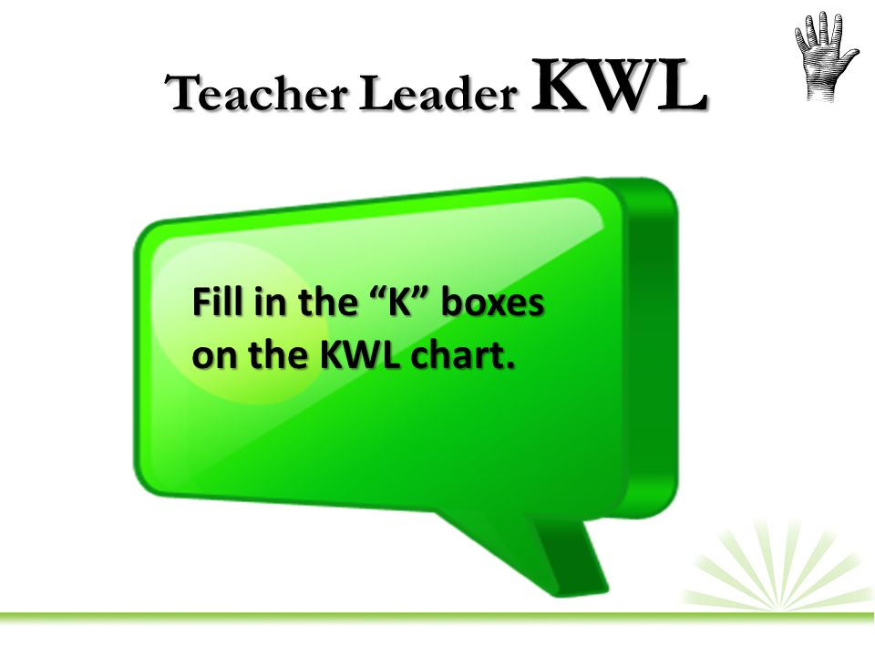 Teacher Leader KWL Fill in the K boxes on the KWL chart.