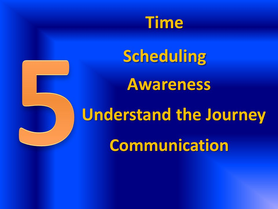 Time Scheduling Awareness Understand the Journey Communication