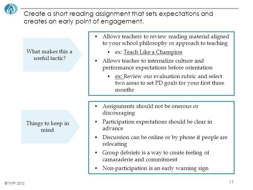 11 © TNTP 2012 Create a short reading assignment that sets expectations and creates an early point of engagement. What makes this a useful tactic? Thi