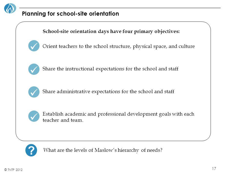 17 © TNTP 2012 Planning for school-site orientation School-site orientation days have four primary objectives: Orient teachers to the school structure