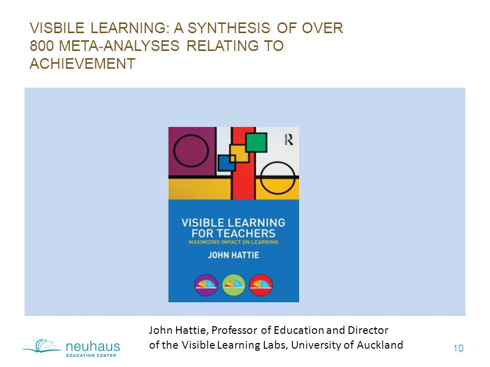 VISBILE LEARNING: A SYNTHESIS OF OVER 800 META-ANALYSES RELATING TO ACHIEVEMENT 10 John Hattie, Professor of Education and Director of the Visible Learning Labs, University of Auckland