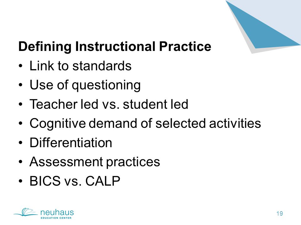 19 Defining Instructional Practice Link to standards Use of questioning Teacher led vs.