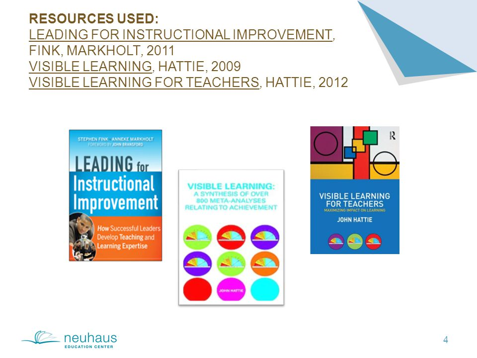 RESOURCES USED: LEADING FOR INSTRUCTIONAL IMPROVEMENT, FINK, MARKHOLT, 2011 VISIBLE LEARNING, HATTIE, 2009 VISIBLE LEARNING FOR TEACHERS, HATTIE, 2012 4