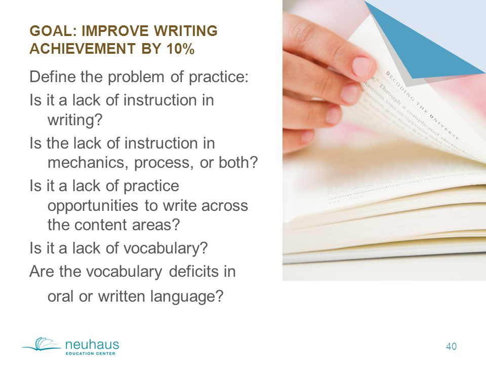 GOAL: IMPROVE WRITING ACHIEVEMENT BY 10% 40 Define the problem of practice: Is it a lack of instruction in writing.